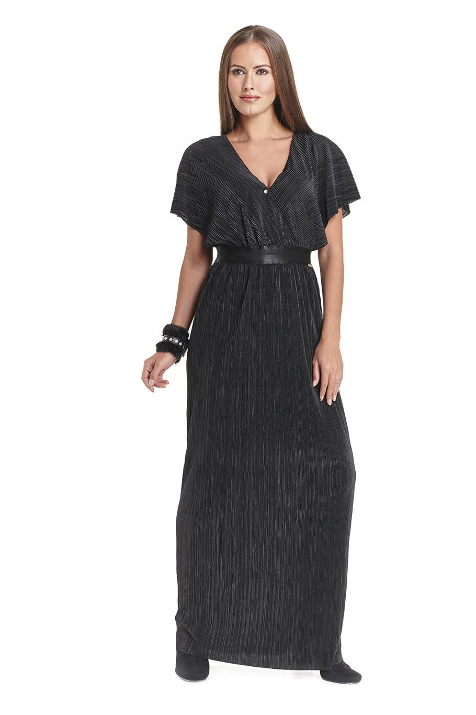 83df85d3af2f Bellino, Φόρεμα μακρύ πλισέ κρουαζέ μπούστο (ΜΑΥΡΟ, S)