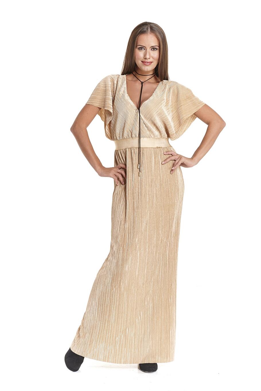 1fe92d3310a0 Φόρεμα μακρύ πλισέ κρουαζέ μπούστο