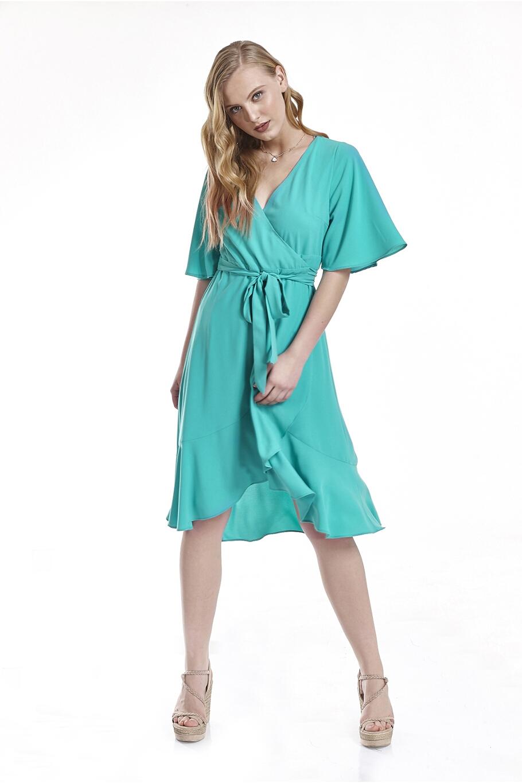 f980ddbb8410 Φόρεμα κρουαζέ με βολάν