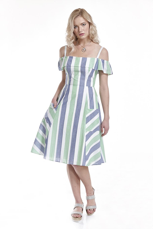 a796f3a8ea19 Φόρεμα ριγέ με τιράντες και τσέπες στη φούστα
