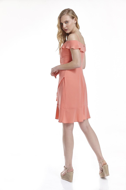 Φόρεμα κρεπ με τιραντάκια και με βολάν  0dbf5e3246e