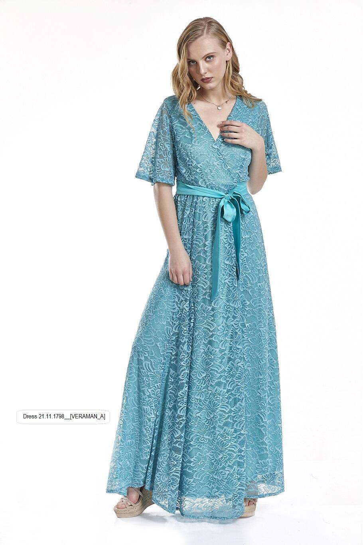 af55b0303fe4 Φόρεμα δαντέλα κρουαζέ ανοιχτό μέχρι κάτω μακρύ