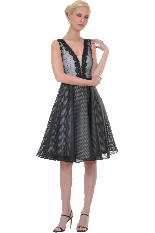 Φόρεμα midi με κόψιμο στη μέση και λεπτομέρειες με δαντέλα  eab0f84a448