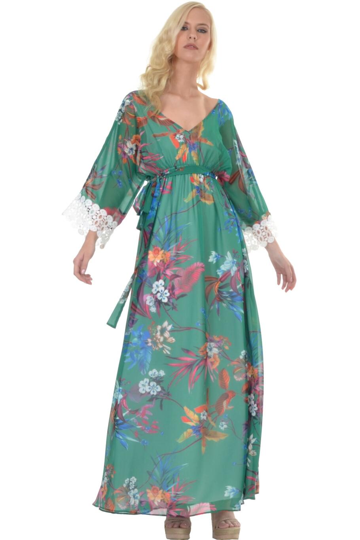 9272c8417005 Φόρεμα σε στυλ καφτάνι με δαντέλα στο μανίκι