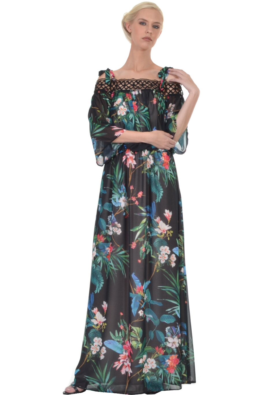 37a6ccffb081 Φόρεμα μακρύ διαφάνεια με κόψιμο στη μέση
