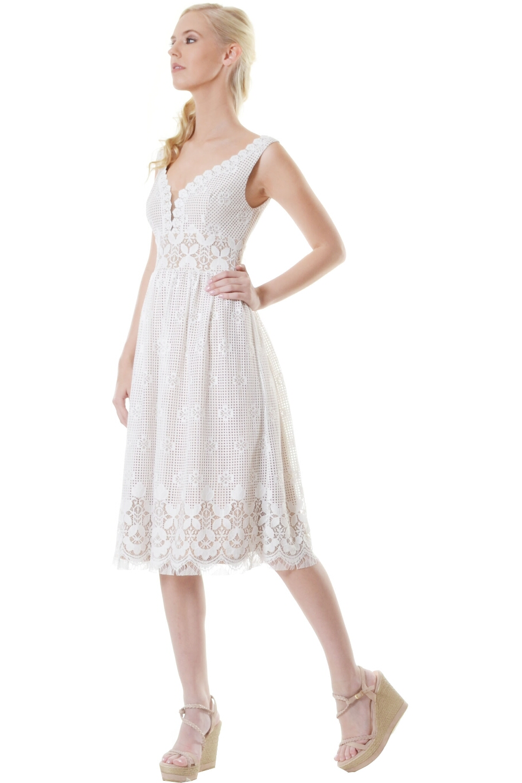 Φόρεμα midi από δαντέλα με V εμπρός  1a8a48d9260