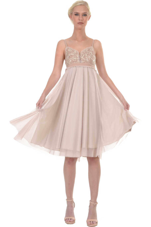 db60c9c5d949 Φόρεμα κοντό με παγιέτα κέντημα στο μπούστο και τούλι φούστα