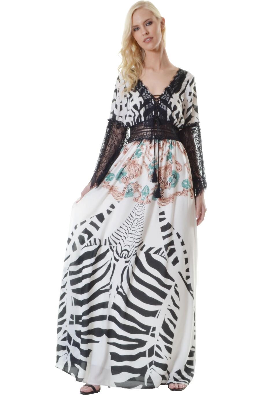 Φόρεμα με δαντέλα στο μανίκι V εμπρός πίσω  0a691fd5543