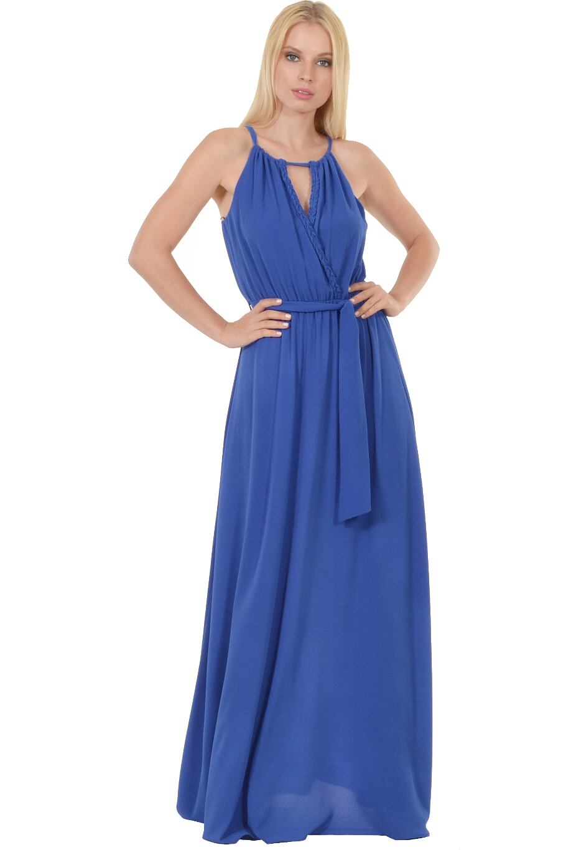 ab4b416800f6 Φόρεμα σε άνετη γραμμή με σχέδιο πλεξούδα στου κρουαζέ