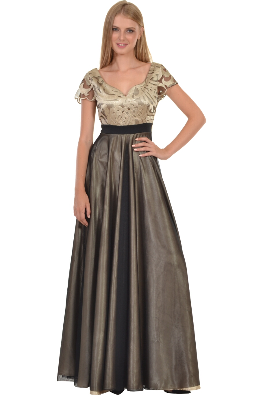Φόρεμα με εντυπωσιακό μπούστο από δαντέλα κεντημένη σε τούλι  0db1120a444