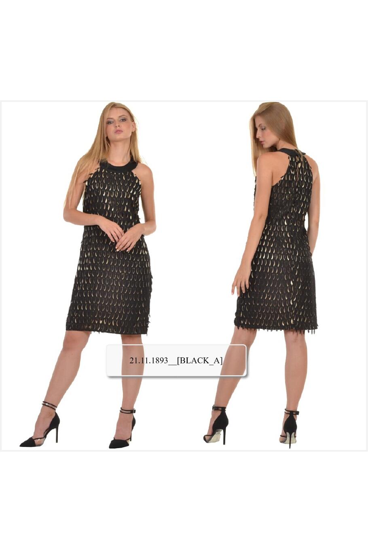 7dee54d75cf2 Φόρεμα μίνι σε ίσια γραμμή σε εντυπωσιακή μουσελίνα