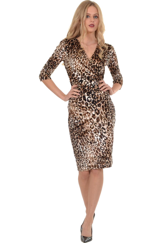 85372afeb014 Φόρεμα midi κρουαζέ σε βελούδο λεοπάρ