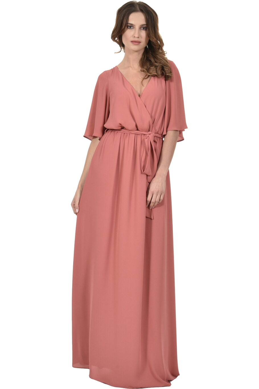 234317e5c019 Φόρεμα κρουαζέ με φαρδύ μανίκι