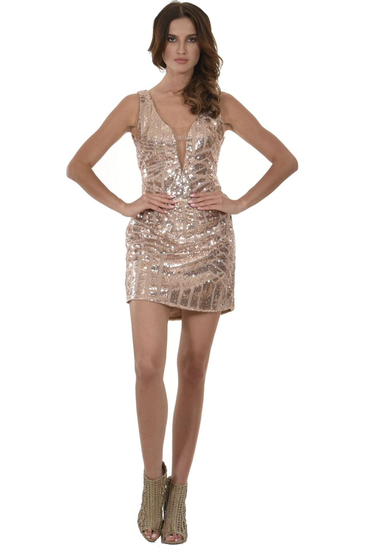 59e5e780ed74 Φόρεμα mini με θηλυκό ντεκολτέ και ανοιχτή πλάτη