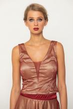 Bellino,  Μπλούζα σε τούλι ιριδίζον με θηλυκό ντεκολτέ (ΜΠΟΡΝΤΟ, L)
