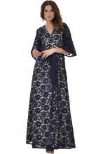 Bellino,  Φόρεμα κρουαζέ σε δαντέλα με καμπάνα μανίκι (ΜΠΛΕ, S)