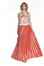 Bellino,  Φόρεμα cocktail πλισέ με δέσιμο στην πλάτη (ΚΟΡΑΛΙ, L)