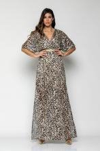 Bellino,  Φόρεμα maxi κρουαζέ με ανοίγματα στο πλάι (ΜΑΥΡΟ, S)