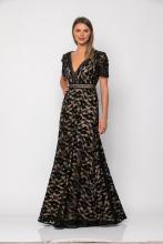 Bellino,  Φόρεμα δαντέλα με τρέσα δερμάτινη εμπρός και στη μέση (ΜΑΥΡΟ, M)