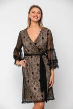 Bellino,  Φόρεμα cocktail midi κρουαζέ σε δαντέλα με ζώνη στη μέση (ΜΑΥΡΟ, XL)