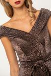 Bellino,  Φόρεμα cocktail pencil lurex με δέσιμο στη μέση (ΜΠΡΟΝΖΕ, XL)