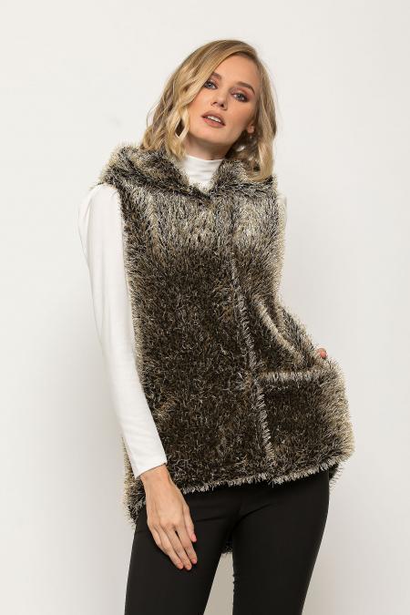 Bellino,  Ζακέτα - γιλέκο γούνινο με κουκούλα σε ριχτή γραμμή (ΧΡΥΣΟ, XL)