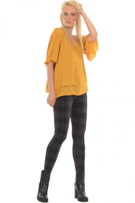 Bellino,  Παντελόνι ελαστικό με μπάσκα στη μέση που αγκαλιάζει το σώμα (ΚΑΜΕΛ, L)