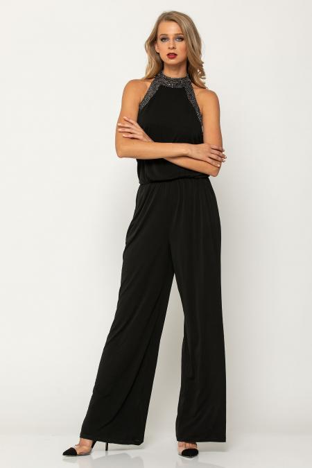 Bellino,  Παντελόνα ολόσωμη σε κρεπ ελαστικό σε άνετη γραμμή (ΜΑΥΡΟ, L)