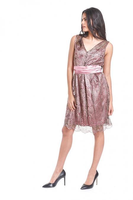 Bellino,  Φόρεμα δαντέλα ανάγλυφη σε γραμμή Cinderella (ΣΑΠΙΟ ΜΗΛΟ, L)