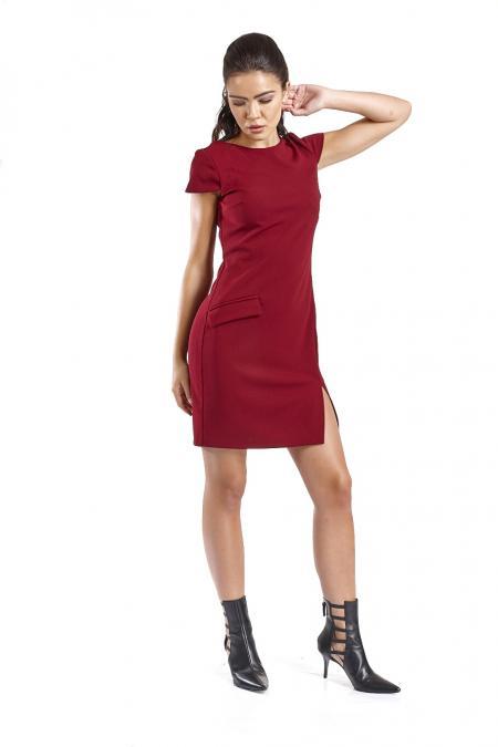 Bellino,  Φόρεμα κρεπ ελαστικό σε ίσια γραμμή (ΜΠΟΡΝΤΟ, S)