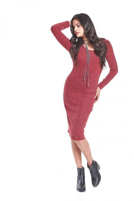 Bellino,  Φόρεμα πλεκτό midi σε στενή γραμμή (ΜΠΟΡΝΤΟ, XL)