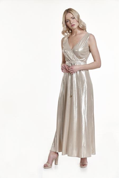 796aa2d64cc Bellino, Φόρεμα Lurex κρουαζέ με ανοιχτή πλάτη (ΧΡΥΣΟ, L)