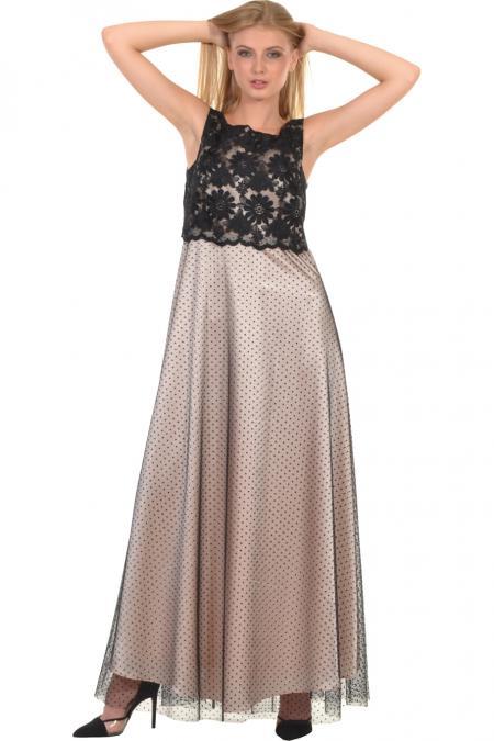 Bellino,  Φόρεμα μακρύ με δαντέλα επάνω και πίσω δέσιμο (ΜΑΥΡΟ, M)