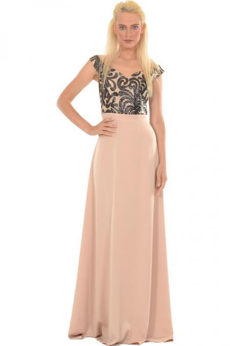 Bellino,  Φόρεμα με θηλυκό μπούστο από κεντημένη παγιέτα (BLACK-GOLD, M)