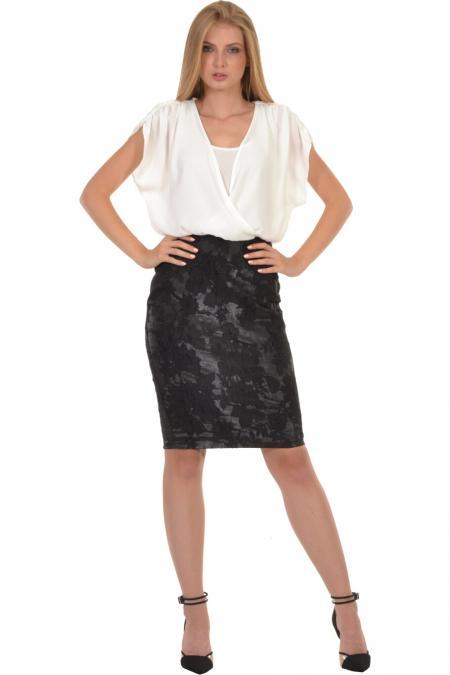 Bellino,  Φόρεμα midi με αέρινο και θηλυκό ντεκολτέ (ΜΑΥΡΟ, L)