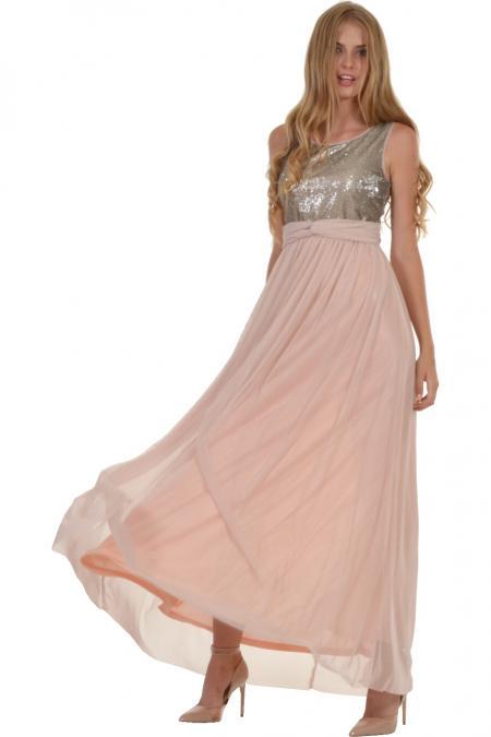 Bellino,  Φόρεμα maxi από αέρινο τούλι με ανοιχτή πλάτη (ΣΑΠΙΟ ΜΗΛΟ, L)