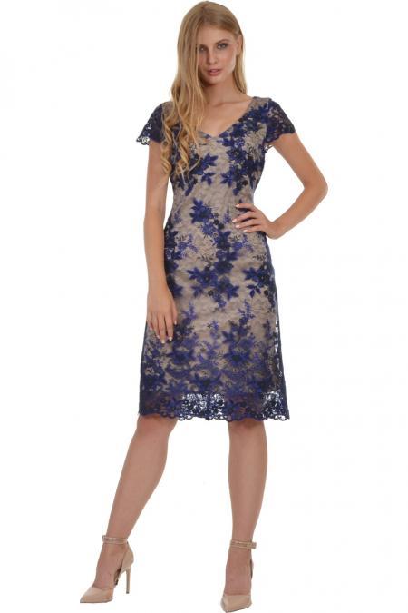 Bellino,  Φόρεμα midi με δαντέλα κεντημένη σε θηλυκό ντεκολτέ (ΜΠΛΕ, L)