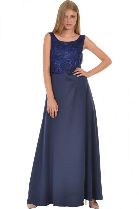 Bellino,  Φόρεμα με δαντέλα κεντημένη και με ανοιχτή πλάτη (ΜΠΛΕ, L)