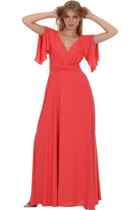 Bellino,  Φόρεμα maxi με θηλυκό μπούστο και άνοιγμα στο μανίκι (ΚΟΡΑΛΙ, L)