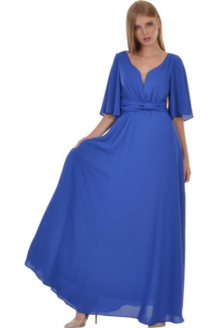 1c6f054438c7 Φόρεμα maxi με θηλυκό μπούστο και άνοιγμα στο μανίκι