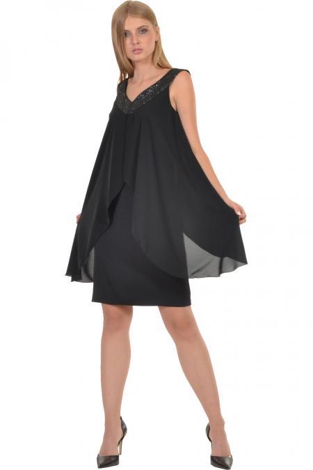 Bellino,  Φόρεμα midi σε ίσια γραμμή με μπέρτα διαφάνεια (ΜΑΥΡΟ, S)