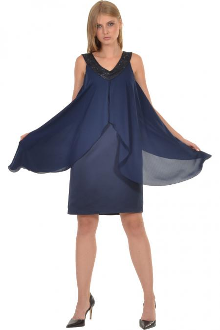 Bellino,  Φόρεμα midi σε ίσια γραμμή με μπέρτα διαφάνεια (ΜΠΛΕ, S)