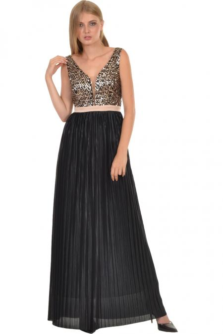 Bellino,  Φόρεμα maxi με εντυπωσιακό μπούστο από παγιέτα (ΜΑΥΡΟ, L)