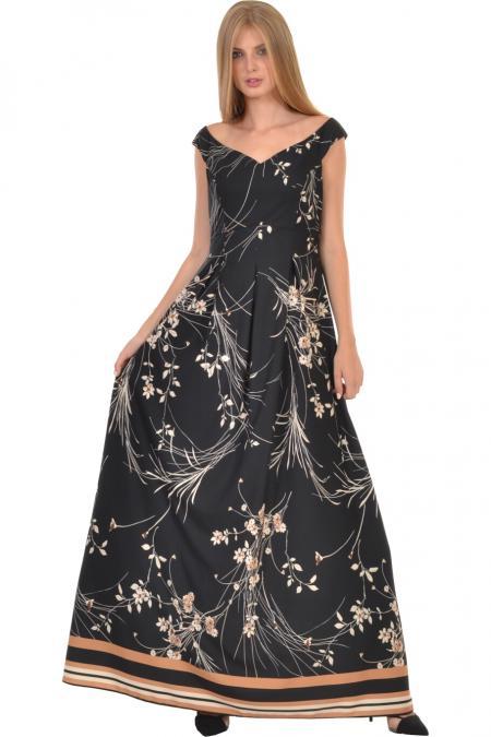 Bellino,  Φόρεμα με θηλυκό μπούστο και πιέτες που αγκαλιάζουν τη μέση (ΚΑΜΕΛ, M)