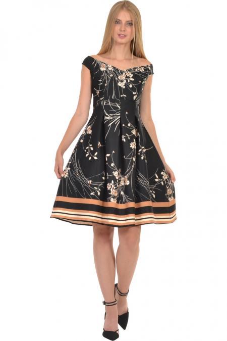 Bellino,  Φόρεμα με θηλυκό μπούστο και πιέτες που αγκαλιάζουν τη μέση (ΚΑΜΕΛ, L)
