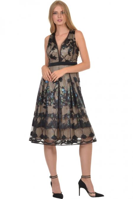 Bellino,  Φόρεμα midi με ζώνη στη μέση και πιέτες στη φούστα (ΜΠΛΕ, L)