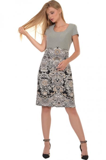 Bellino,  Φόρεμα σε ίσια γραμμή με μπορντούρα στο τελείωμα (ΚΑΜΕΛ, S)