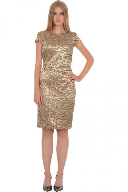 Bellino,  Φόρεμα midi σε κεντημένο τούλι με ανοιχτή πλάτη (ΧΡΥΣΟ, L)