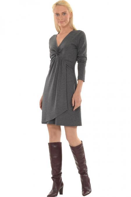 Bellino,  Φόρεμα πλεκτό εβαζέ με θηλυκό ντεκολτέ (ΑΝΟΙΧΤΟ ΓΚΡΙ, L)