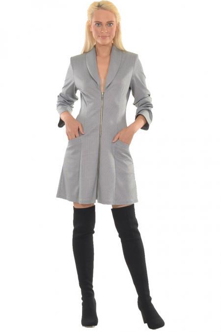 Bellino,  Φόρεμα εβαζέ με γιακά και φερμουάρ διαχωριζόμενο εμπρός (ΓΚΡΙ, S)